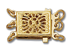 14K Gold - Fancy Clasp 3-Strand