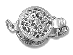 14K White Gold - Small Round Filigree Clasp 1-Strand