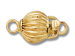14K Gold - Clasp 6mm Corrugated Bead