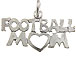 Sterling Silver Football Mom Charm Bulk Pack of 50 with Jumpring
