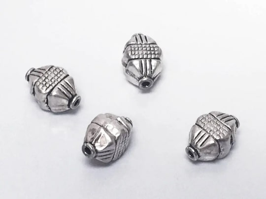 11.8x8mm Bali Style Silver Bead