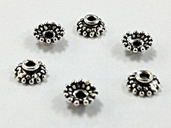 5mm Sterling Silver Bead Caps Oxidized, 100 pc Bulk