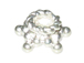 7.5mm 5-Point Star Brght White Bali Silver Bead Cap