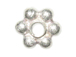 7.7mm Bright White Thick/Heavy Duty (2.75mm) Bali Style Silver Daisy Strand   (Approximately 30+ beads). *VERY SPECIAL PRICE* at