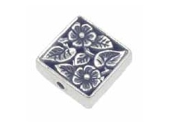 Sterling Silver Square Floral Bead