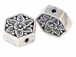 Sterling Silver Hexagon  Floral Bead (bulk Pack of 15) *VERY SPECIAL PRICE*