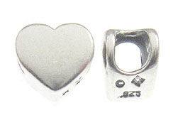 Plain Sterling Silver Large Hole Heart Shape Bead-7x5.8mm (2.9mm