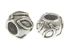 Sterling Silver Christian Fish Symbol Large Hole Bead-6x8.25mm (