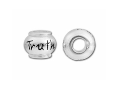 10mm Sterling Silver TRUTH  bead with 4.5mm hole, Pandora Compatible