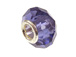 February Faceted Glass Birthstone Bead, with Plated Silver Core - Purple