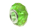 August Faceted Glass Birthstone Bead, with Plated Silver Core  - Peridot