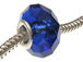 September Faceted Glass Birthstone Bead, with Plated Silver Core  - Sapphire (Version 1)