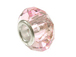 October Faceted Glass Bead, with Plated Silver Core  - Light Pink