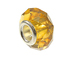 November Faceted Glass Birthstone Bead, with Plated Silver Core  - Yellow Topaz