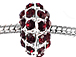 14mm Rhinestone Plated Beads - Siam