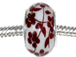 14mm Red Floral Lampwork Glass Beads -  Plated Core