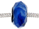 Faceted Large Hole Glass Bead - Blue
