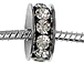 Large Hole Rhinestone Beads - Platinum
