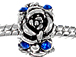 12mm Blue Rhinestone Rose Plated Bead