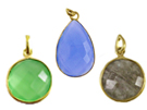 Plated Gemstone Bezel Pendants