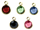 Gold Plated Swarovski Channel Birthstone Charms (CC6G)