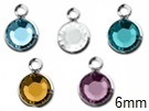 Silver Plated Swarovski Channel Birthstone Charms (CC6S)