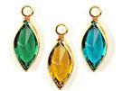 14mm - Gold Plated Swarovski Channel Birthstone Marquis Charms