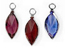 14mm - Silver Plated Swarovski Channel Birthstone Marquis Charms