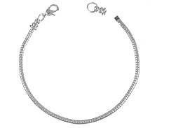 8.5-inch (21.5cm) <b>SILVER PLATED</b> snake bracelet with screw-on endcap In Bulk