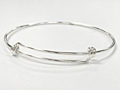 BULK 5 Adjustable Bangle Bracelet Silver Plated Brass  Large Ball Design N318