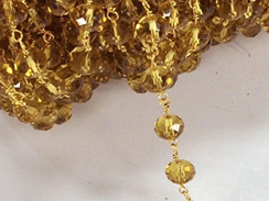 8mm Golden Shaddow Crystal  Faceted Rondell Crystal Glass Gold Plated Wire Wrapped chain by foot - Rosary Bead Chain