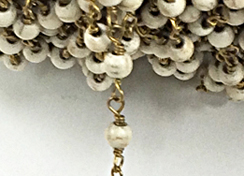 4mm Ivory White Howlite Rosary Chain by foot - White Rosary Chain Gold