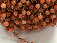 6mm Coral Jade Faceted Beaded 6mm Round Rosary Chain by Foot, Gold Plated Wire, Gemstone Rosary Chain By Foot
