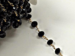 8mm Black Crystal Antique Brass Wire Wrapped Chain by Foot - Rosary Bead Chain