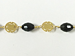 10x7.7mm Faceted Black Oval Crystal Gold Plated Chain