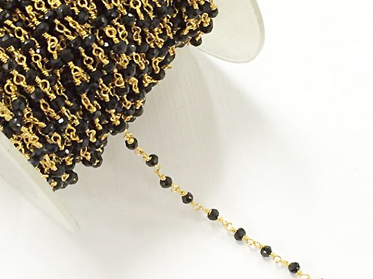 Black Spenial 3mm Faceted Gold Plated Wire Wrapped Chain