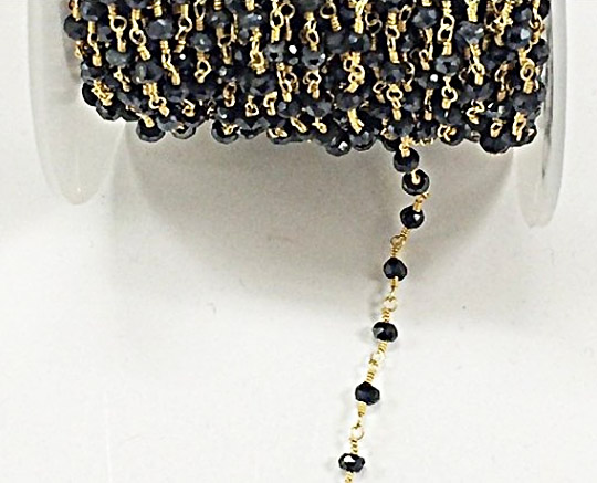 5 Feet Black Spinel Chalcedony Rosary Chain,Black Plated Chain,Wire Wrapped Chain,DIY Jewelry,Jewelry Supply,Necklace Making Chain 3-3.5 mm