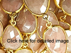 Vermeil (Gold Plated Sterling Silver)  Bezel Set Mystic Pink Quartz Gemstone Chain by Foot
