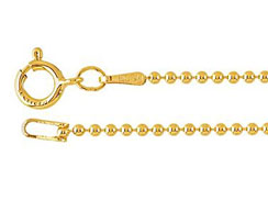 18-inch 14K Gold Filled 1.2mm Bead Chain Finished Necklace with Spring Ring Clasp