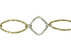 Sterling Silver/Vermeil 2-Tone Hammered Diamond & Marquise Link Chain