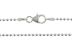 16-inch Sterling Silver 1.5mm Bead Chain with Lobster Clasp Bulk Pack of 50