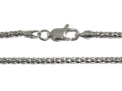 16-inch Sterling Silver Rhodium Plated 2.25mm Popcorn Chain