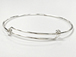 8 to 9.5 inch Adjustable Sterling Silver Charm Bangle Bracelet, 16 Gauge Wire