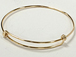 8 to 9.5 inch Adjustable 14K Gold-Filled Charm Bangle Bracelet, 16 Gauge Wire