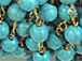 8mm Turquoise Howlite Rosary Chain by foot - Blue Rosary Chain Gold