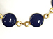 Vintage Lapis Blue Enameled Station Chain Brass Beaded Bohemian Chain by foot - Lapis Blue Rosary Chain Gold