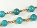 6mm Turquoise Howlite Rosary Chain by foot - Blue Rosary Chain Gold