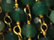 3mm Faceted Dyed Emerald Gold Plated Chain