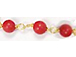Red Coral 3mm Gold Plated Wire Wrapped Chain -- CHGS-RC