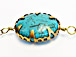 Turquoise Howlite Large Oval Bezel Set  by Foot - Blue Rosary Chain Gold